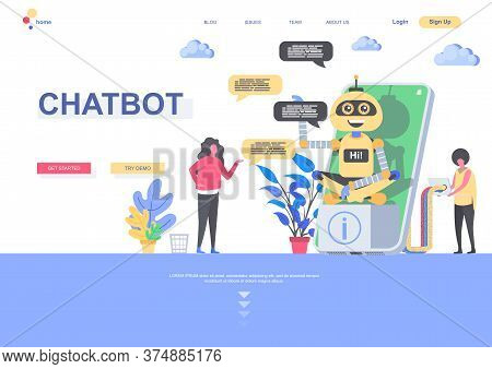 Chatbot Flat Landing Page Template. Developers Programming Online Chatbot Situation. Web Page With P