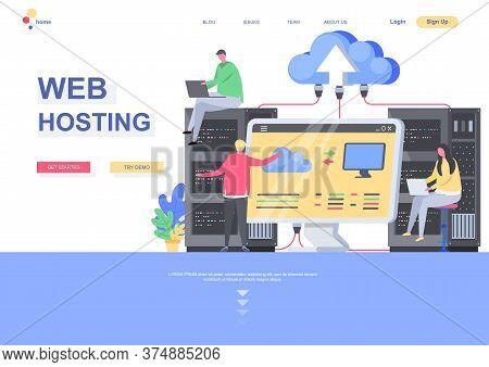 Web Hosting Flat Landing Page Template. It Specialists Admining Server Hardware Situation. Web Page