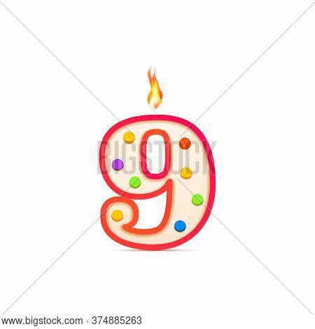 Nine Years Anniversary, 9 Number Shaped Birthday Candle With Fire On White
