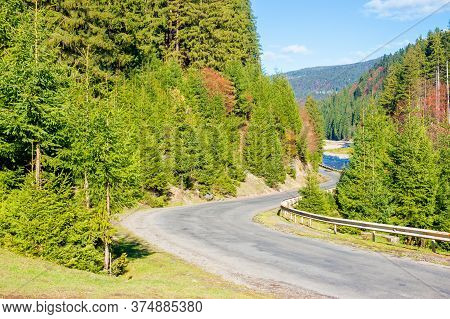 Asphalt Road Through Mountain Valley. Sunny Weather, Travel Concept, Beautiful Nature Scenery In Aut