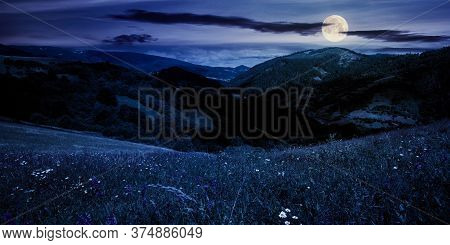 Summer Landscape In Mountains At Night. Amazing Scenery With Herbs In Fields On Rolling Hills In Ful