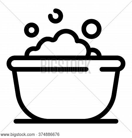 Bath With Bubbles Icon. Outline Bath With Bubbles Vector Icon For Web Design Isolated On White Backg