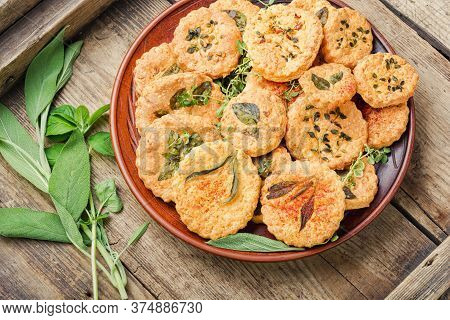 Cookies With Sage,thyme And Rosemary.homemade Appetizing Shortbread Cookies With Spicy Herbs