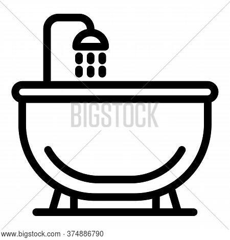 Luxury Bathtub Icon. Outline Luxury Bathtub Vector Icon For Web Design Isolated On White Background