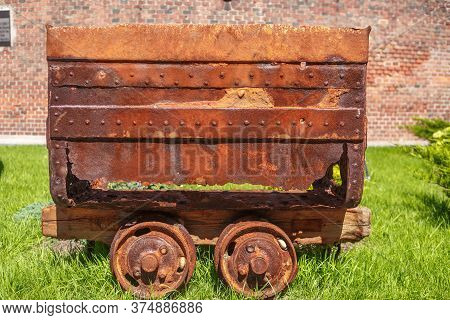 An Old Rusty Trolley From The Mine. A Technique That Has Fallen Into Disuse