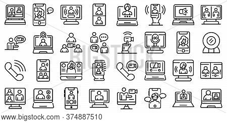 Video Call Icons Set. Outline Set Of Video Call Vector Icons For Web Design Isolated On White Backgr