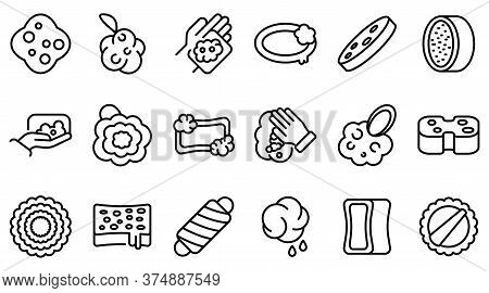 Washcloth Icons Set. Outline Set Of Washcloth Vector Icons For Web Design Isolated On White Backgrou