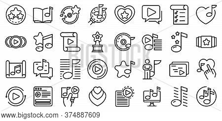 Playlist Icons Set. Outline Set Of Playlist Vector Icons For Web Design Isolated On White Background