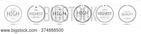 Laurel Wreath Label Badge Set Isolated. High And Highest Quality Labels. Vector Illustration