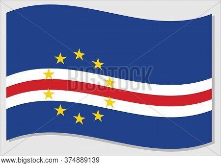 Waving Flag Of Cape Verde Vector Graphic. Waving Cape Verdean Flag Illustration. Cape Verde Country