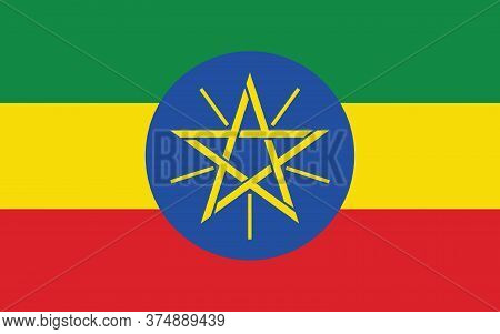 Ethiopia Flag Vector Graphic. Rectangle Ethiopian Flag Illustration. Ethiopia Country Flag Is A Symb