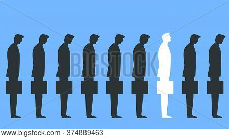 Vector Illustration Of A Group Of Businessmen Standing With Briefcases And One Stands Out With Head