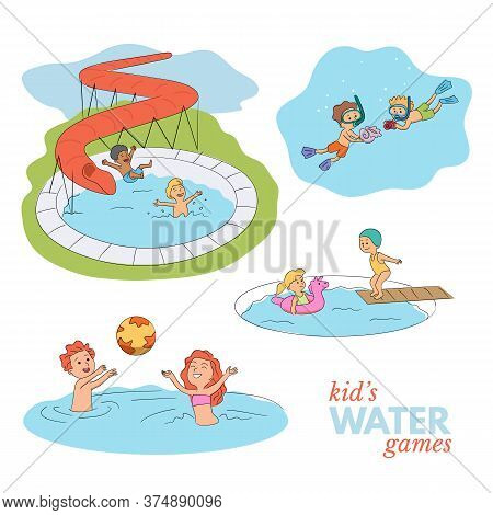Aqua Park Kids Water Entertainment. Fun Scene Cartoon Set. Happy Childhood. Children In Swimsuits Re