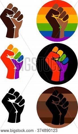 Symbol Of The Lgbt Community, A Fist In A Rainbow Circle. Symbols Of The Movement For Freedom Of Bla