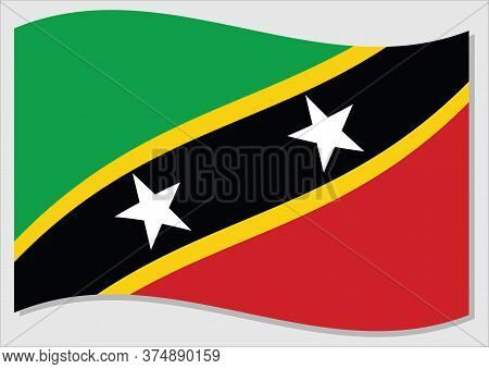 Waving Flag Of Saint Kitts And Nevis Vector Graphic. Waving Saint Christopher And Nevis Flag Illustr