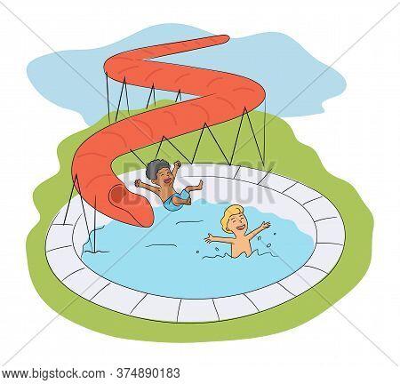 Happy Kids Having Fun In Aqua Park Swimming Pool. Cheerful Afro-american And Caucasian Boys Play Rid