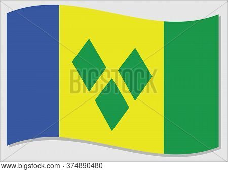Waving Flag Of Saint Vincent And The Grenadines Vector Graphic. Waving Vincentian Flag Illustration.
