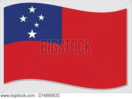 Waving Flag Of Samoa Vector Graphic. Waving Samoan Flag Illustration. Samoa Country Flag Wavin In Th