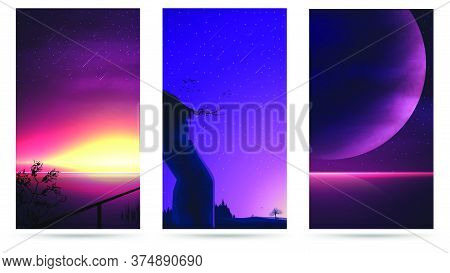 A Large Collection Of Vector Landscapes For Your Creativity. Vertical Wallpaper With Beautiful Reali