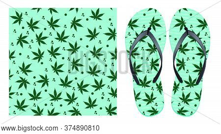 Light Seamless Pattern With Cannabis Leaves And Abstract Spots. Pattern Design For Printing On Flip-