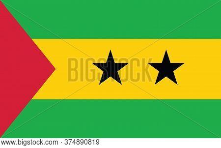 Sao Tome And Principe Flag Vector Graphic. Rectangle Sao Tomean Flag Illustration. Sao Tome And Prin
