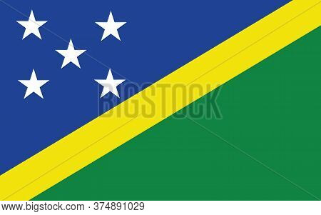 Solomon Islands Flag Vector Graphic. Rectangle Solomon Islander Flag Illustration. Solomon Islands C