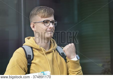 Happy Positive Successful Handsome College Student, Cheerful Pupil, Young Man Smiling With Books, Te