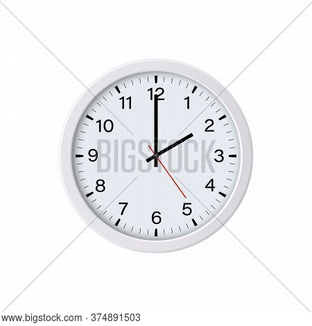 White Circle Clock Face Showing Two O'clock, Isolated. Vector Illustration