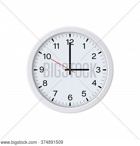 White Circle Wall Clock Face Showing 3 O'clock, Isolated. Vector Illustration