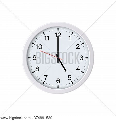 White Round Wall Clock Showing 5 O'clock, Isolated. Vector Illustration