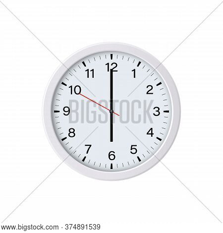 Round White Wall Clock Showing Six O'clock, Isolated. Vector Illustration