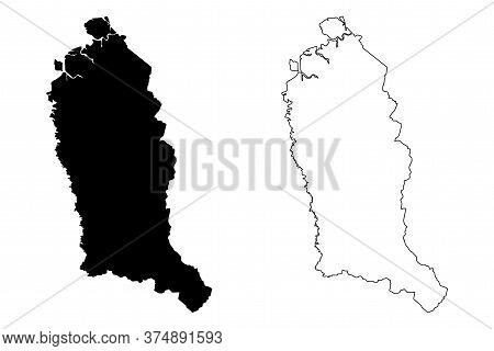 Temburong District (nation Of Brunei, The Abode Of Peace, Borneo Island) Map Vector Illustration, Sc