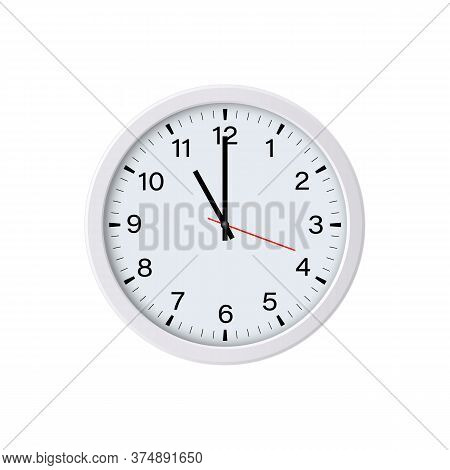 Circle Clock Isolated On White Background. 11 O'clock. Vector Illustration