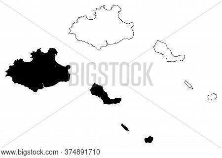 Sao Vicente Municipality (republic Of Cabo Verde, Concelhos, Cape Verde, Island, Archipelago) Map Ve