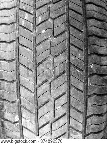 Tread On A Car Wheel As An Abstract Background. Texture