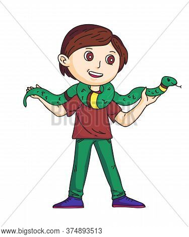 Smiling Schoolboy Holding Long Green Snake On Shoulders. Cute Cartoon Male Teenager Character Standi