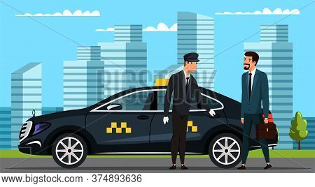 Businessman Wearing Formal Suit Holding Suitcase Gets In Business Taxi-cab. Car Parked On City Stree