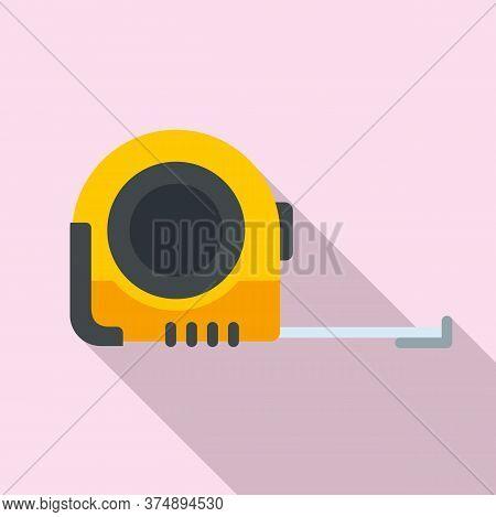 Measurement Tape Icon. Flat Illustration Of Measurement Tape Vector Icon For Web Design