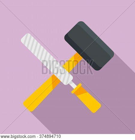 Reconstruction Hammer Tools Icon. Flat Illustration Of Reconstruction Hammer Tools Vector Icon For W