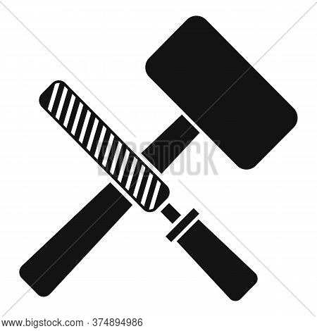 Reconstruction Hammer Tools Icon. Simple Illustration Of Reconstruction Hammer Tools Vector Icon For
