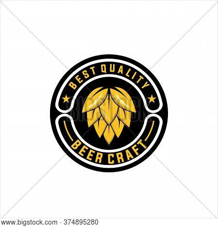 Craft Beer Logo Design On White Background, Label Design With Hop Graphic Surrounded With Wreath And