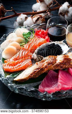 Sashimi Bowl Set Include Raw Salmon And Tuna Set, Japanese Foods Sashimi. Mixed Sliced Fish Sashimi