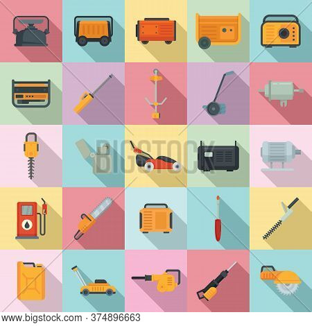 Gasoline Tools Icons Set. Flat Set Of Gasoline Tools Vector Icons For Web Design