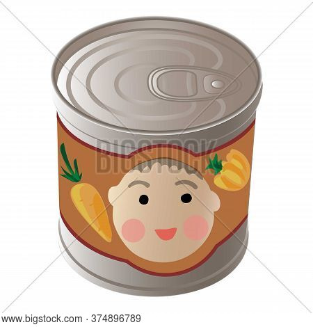 Kid Food Tin Can Icon. Cartoon Of Kid Food Tin Can Vector Icon For Web Design Isolated On White Back