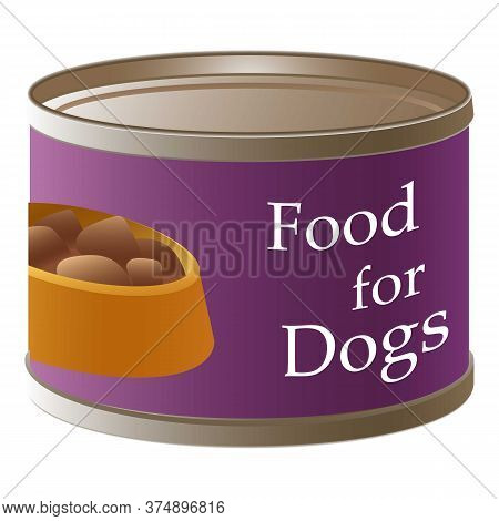 Dog Food Tin Can Icon. Cartoon Of Dog Food Tin Can Vector Icon For Web Design Isolated On White Back