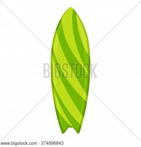 Green Striped Surfboard Icon. Cartoon Of Green Striped Surfboard Vector Icon For Web Design Isolated