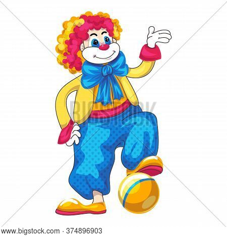 Clown Play Ball Icon. Cartoon Of Clown Play Ball Vector Icon For Web Design Isolated On White Backgr