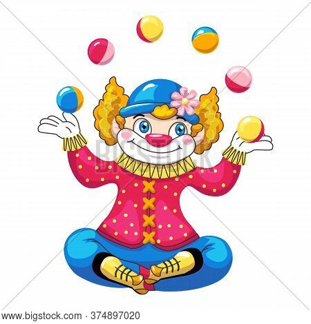 Juggler Clown Icon. Cartoon Of Juggler Clown Vector Icon For Web Design Isolated On White Background
