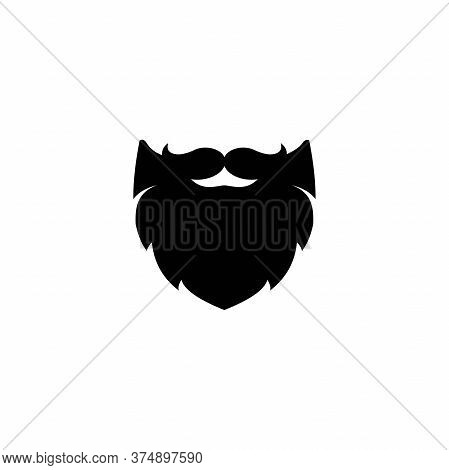 Silhouette Of Mans Moustache And Beard. Black Brutal, Savage Avatar. Isolated On White.