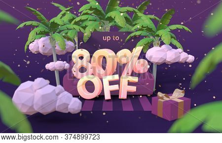 80 Eighty Percent Off 3d Illustration In Cartoon Style. Summer Clearance, Sale, Discount Concept.